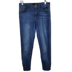 1822 Denim Skinny Button Ankle Jeans Stretchy